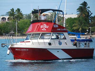 st croix scuba dive boat reliance virgin island caribbean